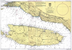 nautical map of island brac