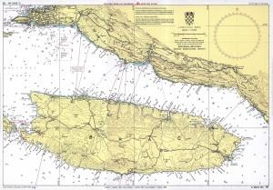 nautical map of island brac